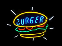 Wholesale Beer Wall Light - NEW Burger Food Real Glass Neon Light Sign Home Beer Bar Pub Recreation Room Game Room Windows Garage Wall Sign