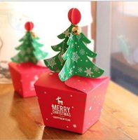 gift xmas Australia - Xmas tree design cookie chocolate candy biscuit paper box party favor decoration gift christmas apple box with bell rope