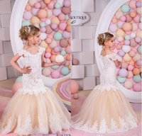 Wholesale Short Little Girls Pageant Dresses - 2016 Lovely Champagne Lace Mermaid Flower Girls Dresses for Weddings Capped Sleeves Kids Wedding Dress Pageant Gowns for Little Girl