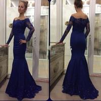 Wholesale Dark Royal Blue Dresses - Evening Dresses 2017 New Cheap Off Shoulder Long Sleeves Mermaid Dark Royal Blue Crystal Beads Formal Dubai Abaya Party Dress Prom Gowns
