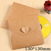 Wholesale Dvd 5pcs - Wholesale- 5pcs lot 130*130mm Vintage Heart Kraft Paper CD Optical Disc Paper Bag DVD Bag DIY Multifunction Card bag craft envelope