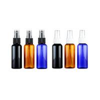 garrafa de perfume redonda vazia venda por atacado-100 pcs 50 ml névoa pulverizador bomba recipiente de plástico 50cc névoa fina spray frasco de perfume marrom azul preto rodada garrafas vazias de cosméticos