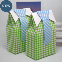 Wholesale Cute Baby Shower Favor Box - Wedding Favor Box Cute Boy Small Gift Boxes With Bow Tie Baby Shower Baptism Party Tie Striped Candy Box Wholesale