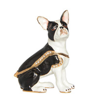 Wholesale trinkets earrings - Pewter Enamelled Boston Terrier Dog Trinket Jewelry Box Collection Gift Dog figurine gifts
