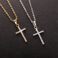Wholesale Brass Cross Charms - Nice Birthday Gift AAA CZ Cool Dominic Cross Pendant Necklace High-Quality 18K Yellow White Gold Plated Necklace for Girl Friend for Wife