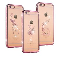 Rose + Vergoldung Diamant Bling Pfau Shell Schwan-Muster-Fall für Iphone 6 6s 4,7-Zoll-6 Plus 5.5 Kristall-TPU Softcover