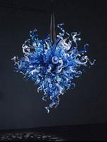 романтичный подвесной потолок оптовых-Популярные голубые крытые канделябры освещая потолочные светильники шарики Сид Дунутые рукой Света муранского стекла романтичные Привесные