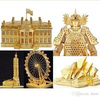 Wholesale 3d Model Notre Dame - 15 Styles DIY 3D Models Metallic Nano Puzzle Notre Dame DE Paris White House Arc DE triomphe Build Kits no glue required For Chirstmas gift