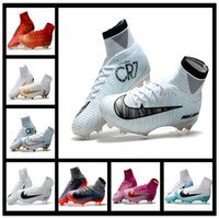 Wholesale Open Fabric Toe Boots - 2017 Mercurial Superfly CR7 White Golden Soccer Shoes Soccer Boots Cleats 100% original Men shoes Football Shoes Size 38-45