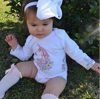 Wholesale Long Sleeve Bodysuit 12 Months - INS Baby Romper Unicorn Flower Long Sleeve Girls Jumpsuit Fashion Floral Infant Onesie Cute Autumn Toddler Bodysuit C2603