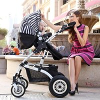 Wholesale Stroller Shock Absorbers - Babies Stroller High Landscape Sit Reclining Bi-directional Four-wheeled Inflatable Wheel Anti-Shock Absorbers Collapsed Infant Stroller Kid