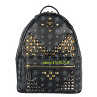 Wholesale Men Leather Backpack Bags - 2016 Ladies Backpacks Designer Genuine Leather Backpacks Luxury Handbags Women Fashion School Bags Rivet Backpack Style Totes Sale