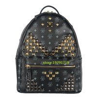 Men black sequin tote - 2016 Ladies Backpacks Designer Genuine Leather Backpacks Luxury Handbags Women Fashion School Bags Rivet Backpack Style Totes Sale