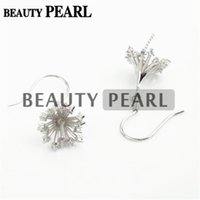 Bulk of 3 Pairs Pearl Earring Configurações 925 Sterling Silver Zircon Hook Earrings Base Jewelery Findings