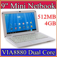 "Wholesale Mini Netbook Android - 9 inch Mini laptop VIA8880 Netbook Android 4.2 laptops VIA8880 9"" Dual Core Cortex A9 1.5Ghz 512MB 4GB Netbook B-BJ"