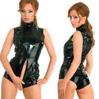 Wholesale sexy leather pvc bondage for sale - Group buy S XXL New Sexy Faux Leather PVC Wet Look Catsuit with Zipper Bondage Bodysuit Fetish Clubwears Plus Size