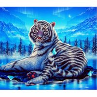 Wholesale Home Decor Low Prices - Factory Wholesale Low price Diy Diamond Painting home decor Tiger in the snow Wall Sticker living room 60X70CM HWB-764