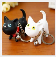 Wholesale Cute Christmas Couples Gifts - Valentine's Day Birthday Christmas Wedding Gifts Cute Cartoon Pussy Cat Doll Keychains Car Mobile Bag Pendants Fashion Lover Couple Keychain