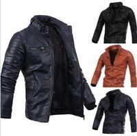 Wholesale Leather Jacket Men Wholesale - Men Locomotive Coat Leisure Leather Jackets Zipper Casual Jumper Winter Outerwear Fashion Overcoat Top Outerwear Men's Clothing KKA2728