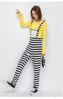 Wholesale Japanese Halloween Costumes Girls - Japanese cute girl clothing Halloween costume striped cartoon image of cosplay the role of dress two pairs of pants