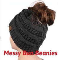 Wholesale Chunky Acrylic Yarn - Casual Winter Fitted Messy Bun CC Beanies Trendy knitted Chunky Slouchy Beanie High bun Ponytail Stretchy Winte Hat For Women gorro feminino