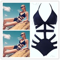 Wholesale Tri Bikini - hllow out swimwear Pure Color black pink blue swimsuit One Piece Swimsuits sexy bikini Swimsuit Sale swimsuits for women Womens swimwear tri