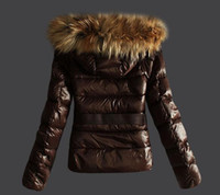 Wholesale Women S Down Filled Coat - Women's Thicken White Down Jackets long sleeved big fur collar filled winter coat Parka Plus Size S-2XL