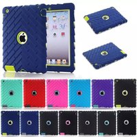 Wholesale Silicon Pattern - Tire Pattern Anti Shock Case For Apple iPad 2 iPad 3 iPad 4 Heavy Duty Rubber Hard Silicon Case Cover Shockproof Dual Layer