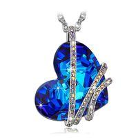 ingrosso collana blu dichiarazione di cristallo-New Classic Blue Crystal Love Hearts Collana a pendente per le donne Fashion Zircone Charm in argento con catena a maglia Statement Collane