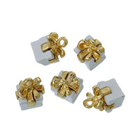 """Wholesale jewelry paint silver - Charm Pendants Box Gold Plated Bowknot White Painting 11mm( 3 8"""") x 9mm( 3 8""""),10 PCs findings new jewelry making DIY"""