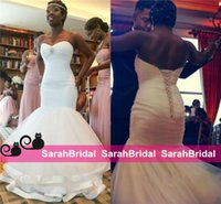 Wholesale Cheap Winters Dresses For Ladies - Vestido De Noiva 2016 New African Ladies Mermaid Wedding Dresses For Women Sexy Lace Up Back Long Tulle Nigerian Style Cheap Bridal Gowns