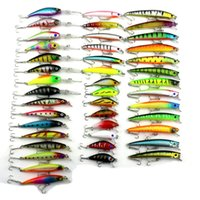 Wholesale Rattle Fishing Lure - 43pieces Fishing Lure set ABS Plastic Laser hard crank bait Artificial Fish Bill Rattles Crankbaits Fishing Tackle
