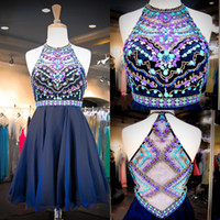 Wholesale Cheap Short Sweet 16 Dresses - 2015 Navy Chiffon Sweet 16 Dresses Real Images Halter Neck Colorful Beaded Sequins Crystals Cheap Homecoming Gowns with Illusion Back