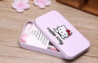 Wholesale Wholesale Mini Sweet Box - Free DHL New Hello Kitty Sweet pink black 7 Pcs Mini Makeup brush Set cosmetics kit de pinceis de maquiagem make up brush Kit with Metal box