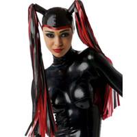 Wholesale Customize Mask - New Handmade Customized Latex Hoods With Tress Wig Hair Open Face Fetish Mask Heroine Hood Cosplay Women Headgear Zentai