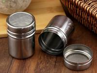 tamiz de café al por mayor-Inoxidable Shaker chocolate Cacao Harina Azúcar en polvo polvo de café Tamiz Lid Shaker Cocina Herramientas de Cocina