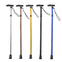 Wholesale Wholesale Cane Tip - Outdoor 4-section Aluminum Alloy Adjustable Canes Camping Hiking Mountaineer Walking Sticks Trekking Pole 6 Colors 2503027