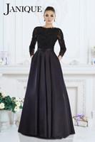 janique vestidos al por mayor-Janique 2019 Vestido formal negro Una línea de joya de encaje de manga larga con cuentas de la madre de la novia viste de noche para las mujeres por encargo