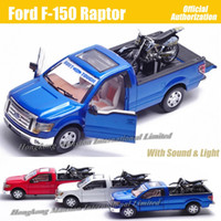 Wholesale Pull Back Motorcycle Toy - For Ford F-150 Raptor 1:32 Scale Diecast Alloy Metal Car Model Collection Model Pull Back Sound&Light Toys Car With Motorcycle