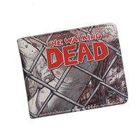 Wholesale Dead Note - Hot American Movie Cartoon Wallets THE WALKING DEAD Wallet Vintage Funny Printing Leather Purse ID Card Holder Men's Cosplay Comics Wallet