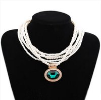Wholesale Imitation Ivory Pearl Necklace - Multistrand Ivory Glass Pearl Women Necklace Jewelry with Blue Stone Pendants