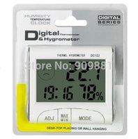 saat termometresi zamanlayıcı toptan satış-Mini Hava Higrometre Taşınabilir Büyük LCD Dijital Kapalı Termometre Nem Ölçer DC102 Zamanlayıcı Saat Çalar Metre