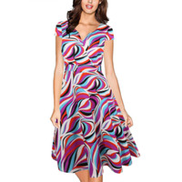 Wholesale Stretch Dress Princess - MAYFULL Women V collar print waist stretch big swing princess dress slim dress