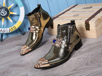 Wholesale Men Fashion Dress Boots - Fashion Pointed-toe Work Shoes Italian Men Style Gold Color Boots Real Leather High Top Boots Mens Dress Wedding Boots Plus Size 38-46