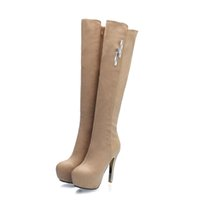 Wholesale Cheap Nude Leather Heels - Free Shipping 2016 women boots high heel fashion boots for winter thick platform shining stones over knee round toe plain cheap boot 215-6-2