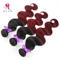 Wholesale Hair Extension Color Wine - 1B 99J Ombre Burgundy Hair Extensions Indian Hair Bundles Body Weave Color Wine Red HLSK Indian Human Hair