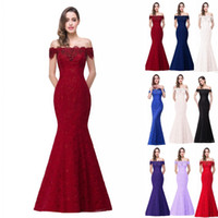 Wholesale mermaid corset bridesmaid dresses - 2018 New Designer Cheap In Stock Designer Prom Dresses Off Shoulder Lace Appliques Mermaid Bridesmaid Dresses Corset Back CPS199