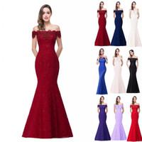 Wholesale corset dresses cheap black - 2018 New Designer Cheap In Stock Designer Prom Dresses Off Shoulder Lace Appliques Mermaid Bridesmaid Dresses Corset Back CPS199
