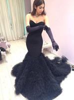 vestidos largos hasta el suelo de tren negro al por mayor-2016 lujosos vestidos de noche Sweethert Satén negro Tulle con gradas Tren de la corte Largo hasta el suelo Formal Vestido de fiesta 2K16 Vestidos de fiesta