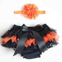 Wholesale Pp Skirt Headband - Pretty black chiffon baby pp pants 2016 New (headband + PP skirt) kids Halloween costumes pretty bow skirt in stock 6set W